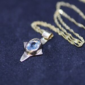 Small Natural Blue Zircon Cross in Solid 14k Yellow Gold 4th Anniversary Canada