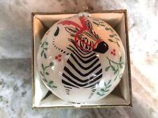 2015 Pier 1 Imports Li Bien Zebra Holly Berries Christmas Tree Ornament New