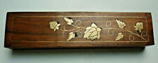 Edle Stiftbox für Montblanc, Pelikan, Lamy = Teakholz + Messing Intarsien Deckel