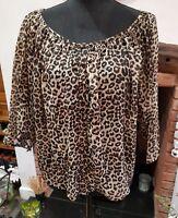ladies brown animal print blouse size 16