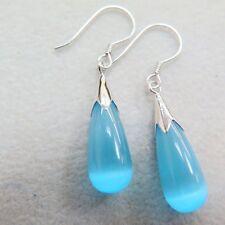 Good Sterling Silver Blue Cat's Eye Stone Women Luck Raindrop Dangle Earrings
