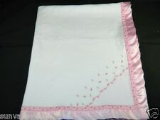 Carters White Baby Blanket Embroidered Rosebuds Pink Satin Trim Ex. Cond.