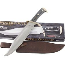 "Timber Rattler Western Outlaw Bowie Knife & Sheath Large 16 1/2"" Hardwood Handle"