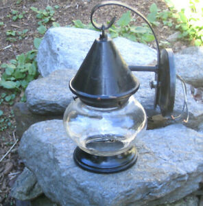 Antique Mission Arts & Crafts Porch Light Lamp Bee Hive Glass Witch Hat Gothic