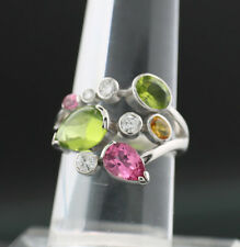 Peridot Turmalin Saphir Brillant RING COLORS IN LOVE 750er WEIßGOLD SW ca.1675.-