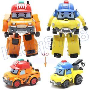 2Pcs Robocar POLI Mark Bucky Car Transformer Robot Action Figure Toy Xmas Gift