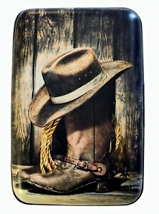 Cowboy Boots and Hat RFID Secure Theft Protection Credit Card Armored Wallet