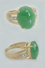 Goldring 375 mit Jade - Ring Gold - Damenring mit Jade und Zirkonias - Jadering