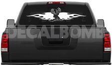 BUCK & FLAMES decal / sticker hunt deer bow gun 30 X 7""