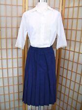 Vtg 1980s Wardrobe Maker DARK BLUE PLEATED SCHOOL GIRL SKIRT Womens 8P Career