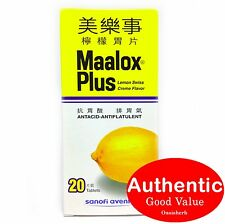 Maalox Plus Antacid Lemon Swiss Crème Flavor 20 tablets for stomach pain (New!)
