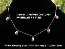 Lavender Cultured Freshwater Pearl Tincup Necklace 8mm 925 SOLID Sterling Silver