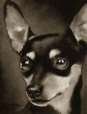 Miniature Pinscher Art Print Sepia Watercolor Min Pin Painting by Artist Djr
