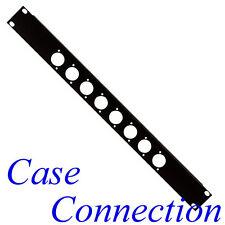 "1HE Rackblende 8x D-Form - Stahl - schwarz - gekantet # XLR 19"" Blindabdeckung"