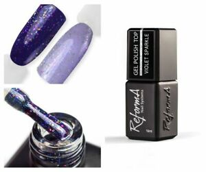 Glitter Top Coat Shimmer Top Cover Reforma Purple Sparkle Top Nail Art