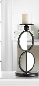 "DUO MIRRORED CANDLE HOLDER - 14 1/4"" HIGH - IRON & GLASS - BLACK"