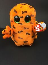 "Ty Halloween Beanie Boos 10"" Medium Ghoulie the Orange Ghost Plush"