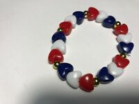 Heart Stretch Bracelet Patriotic 4th July Red White Blue Jewelry Gold  Gift US