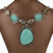 Vintage Flower Leaf Genuine Turquoise Bib Charm Handmade Cameo Pendant Necklace