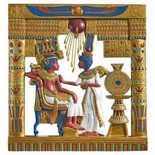 Egyptian Pharaoh King Tut & Queen Royal Cartouche Wall Frieze Sculpture