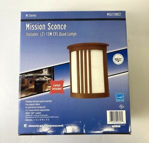 NEW AMERICAN FLORESCENT MIS213KECT MI SERIES 2 13W CFL QUAD LAMPS MISSION SCONCE