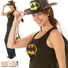 Bat Girl Top & Cape Ladies Fancy Dress Comic Book Superhero Adults Costume Acc