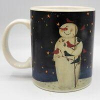 Mary Beth Baxter Twilight Snowman Mug Gold Stars Cardinals Birds Certified Int