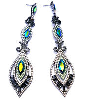 4 Inch Rhinestone Crystal Chandelier Earrings Multi Color