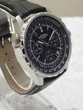 Rotary Men's GS03632/04 Swiss Chronograph Pilot Style Black Leather Watch - NEW
