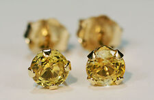 BEENJEWELED GENUINE MINED PALE YELLOW SAPPHIRE EARRINGS~14 KT YELLOW GOLD~4MM