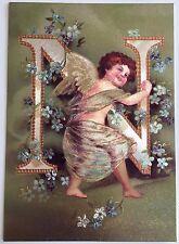 """*Vintage ANGEL ALPHABET LETTER """"N"""" Floral FOIL POSTCARD Clapsaddle FORGET-ME-NOT"""