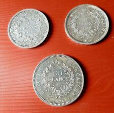 Lot de 3 pièces en Argent 5 F 1873 1848 et 50 francs 1978