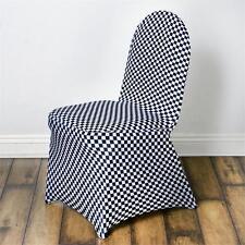 Checkered Spandex Chair Cover - White / Black