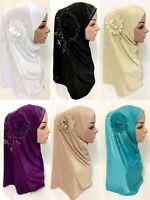 Ramadan Women Muslim Flower Hijab Crystal Long Scarf Islamic Amira Headwear Wrap
