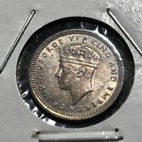 1943 MALAYSIA SILVER 5 CENTS HIGH GRADE COIN