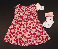 NWT Gymboree Little Strawberry 0-3 Months Woven Strawberry Print Dress & Socks
