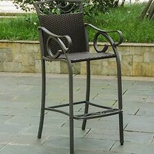 Set Of 2 Valencia Resin Wicker/Steel Bar Bistro Chairs Chocolate NEW