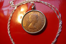 "1964 English Penny Pendant on a  28"" .925 Silver Wavy Chain, Rare Predecimal 1d"
