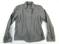 Eileen Fisher Assymetrical Zip Jacket Gray Petite Medium