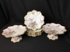 Antique A. Lanternier Limoges 8 Piece Dessert Set (2 Compotes & 6 Plates)
