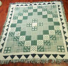 VTG Woven Afghan Tapestry Throw Blanket Cream Green Navy Quilt-Style Geometric