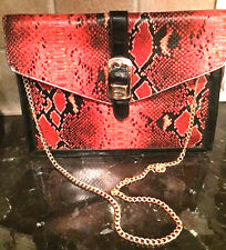 FAUX  LEATHER RED SNAKE BAG HANDBAG  LARGE CLUTCH METAL  REMOVABLE CHAIN NEW