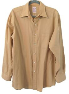 Brooks Brothers Mens Button Down Shirt Size 15 1/2 33 Long Sleeve Yellow Gold