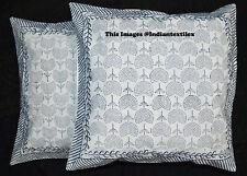 "Set of 2 Block Print Cushion Cover 16x16"" Ethnic Cotton Home Decor Pillow Case"