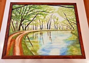 J. Piergallini Art 24x30 Country Road 1983 From PBS Auction Pennsylvania Art
