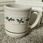 LONGABERGER Pottery Traditional Holly Christmas Mug POINSETTIA MINT PRE-OWN