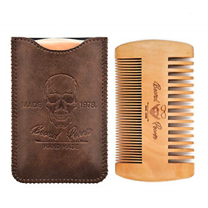 Beard Power Wooden Beard Comb & Durable Case for Men with Sexy Beard, Fine & for