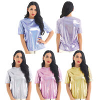 Women's Shiny Metallic Casual Short Sleeve Lightweight T-Shirt Blouse Tops Tee