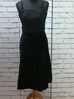 Vintage Ladies Black Velvet Midi Dress XS  6-8