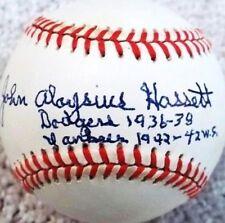 "JOHN ALOYSIUS HASSETT ""BUDDY"" (D.1997) 4 INSCRIPTIONS SIGNED ONL BASEBALL JSA"